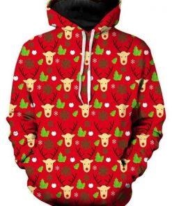 Reindeer Turn Up Red Christmas Cute Unisex 3D Hoodie