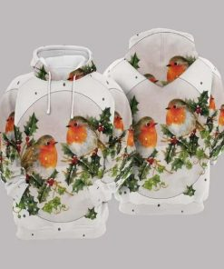 Robins Christmas Cute White Unisex 3D Hoodie