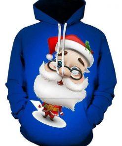 Santa Christmas Blue Cute Unisex 3D Hoodie