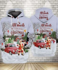 Santa Claus All Hearts Come Home For Christmas 3D Hoodie