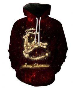 Christmas Hoodies Golden Deer 3D Hoodie