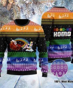 Lgbt Santa Claus And Unicorn Hohoho Homo Ugly Christmas Sweater