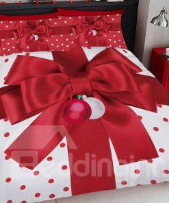Red Christmas Gift Bow Digital Printing Bedding Set
