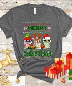 Santa Hat Owl Bird Lighting Christmas Tree T-Shirt