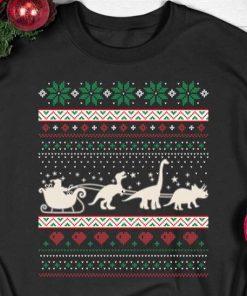 Santa Riding Dinosaur T rex Christmas Shirt